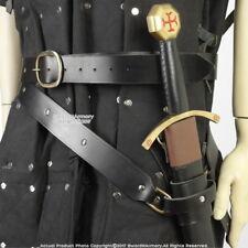Medieval Double Wrap Genuine Black Leather Sword Belt w/ Frog LARP SCA X-Large
