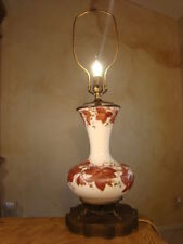 GREAT ANTIQUE HAND PAINTED WHITE GLASS  LAMP