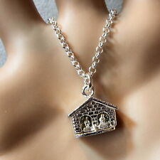 sterling silver solid weather house pendant & chain