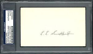 "Lester ""Les"" Sweetland Autographed Signed 3x5 Index Card Phillies PSA 83862431"