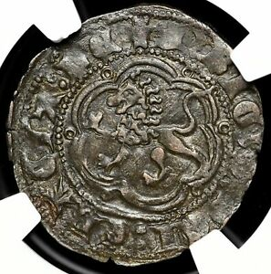 SPAIN. Henry III, Billon 2 Cornados, 1390-1406, NGC AU55