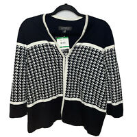 KASPER Houndstooth Sweater CARDIGAN NEW WITH TAG RETAIL$99 Size Large Black