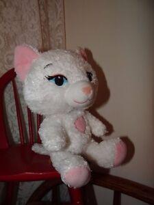 "Build-A-Bear 7"" Small Frys White Kitten Cat Plush Pink Heart BAB"