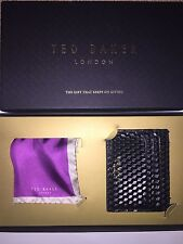 BNIB Ted Baker 'Quebert' Black Leather Card Wallet & Silk Pocket Scarf.Gift Idea