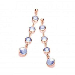 Silver J-Jaz Blue Swarovski Crystal, Rose Plated Drop Earrings,Butterfly,JZER075