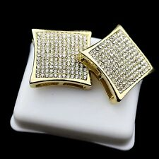 Huge Kite Curved Earrings 20 MM Iced-Out Gold Finish 12 Row Men Micro Pave Bling