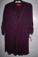 Women's ELLE Dark Purple Pintuck Flyaway One Button Open Front Cardigan  Size L