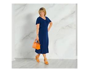 Ruth Langsford Ruched Detail Midi Dress Petite Navy Size 20 BNWT
