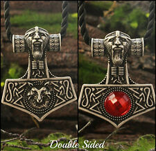 Norse Mjolnir Thors Hammer Fox Head Necklace