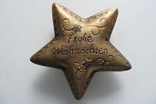 FROHE WEIHNACHTEN Stern,Keramik Ton Figur braun gold B 12 H 3 c m,real Dayconomy