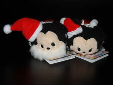 Japan Disney Store 2015 Christmas Mickey & Minnie mini Tsum Tsum Plush NEW