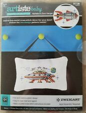 Zweigart Artiste Alphabots Door Hanger Counted Cross Stitch Kit 981803 spaceship