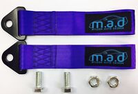 2 x PURPLE M.A.D 280MM TOW STRAP LOOP RECOVERY HOOK TRACK DAY RACE CAR DRIFT