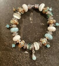 EUROPEAN CHARM BRACELET TURQUOIS BROWN BEADS LEATHER BAND SILVER CLASP CLOSURE