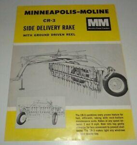 MInneapolis Moline CR-3 Side Delivery Rake Sales Brochure Literature Dealers