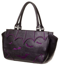 BANNED BATS HANDBAG PURPLE GOTHIC VAMPIRE SHOULDER BAG FAUX LEATHER VEGAN BLACK