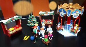 Playmobil Weihnachtsmarkt mit Karussell, Verkaufsständen, Weihnachtsbaum - TOP -