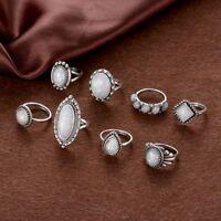8PCS Natural Boho Jewelry Wedding Fire Opal Ring Set Silver Plated Gemstone