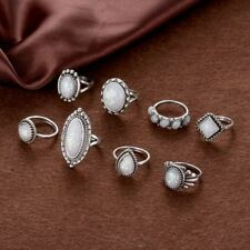 8PCS Natural Boho Jewelry Wedding Fire Opal Ring Set Silver Plated Gemstone