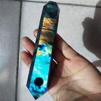 Natural Labradorite Smoking pipe Quartz Crystal Pink Smoking Pipes Healing 136mm