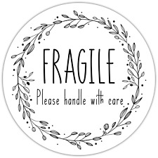 70 x Fragile Please Handle With Care NON personalised stickers labels 37mm