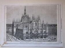 1866 MILANO IL DUOMO xilografia Pessina Vajani Sartorio Illustrazione Universale