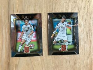 Lot 2 card 2015-16 Panini Select Soccer Spain  Sergio Ramos & David Silva