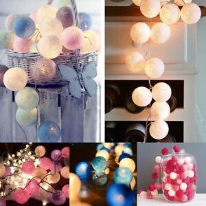 LED Globe Garland Cotton Ball String Fairy Lights Christmas UK Plug In / Battery