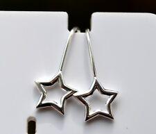 Sterling Silver 925 Open Star Hookwire Drop Earrings