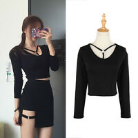 Sexy Hollow Out Long Sleeve Women Crop Top Slim T-shirt Spring Casual Club Black