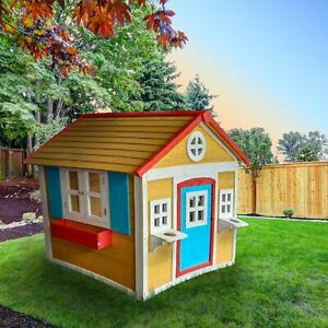 ALEKO Outdoor Backyard Wooden Kids Playhouse Children Yard Cottage Fun