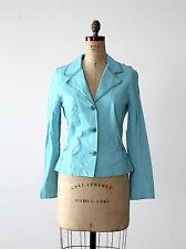 "Hella Barbara Rank leather blazer ""W"" blue leather jacket size S"