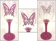 GLITTERED STEM WINE GLASS WITH BUTTERFLY  & GEMS