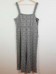 SPORTSGIRL   Womens Houndstooth Plaid Culotte Jumpsuit NEW [ Size XL or AU 16 ]