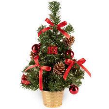 30cm Artificial Christmas Tree Silver Tinsel Flecks, Red Decorations & Pine Cone