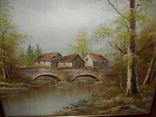 HOUSES BY THE BRIDGE; OIL ON CANVAS PAINTING