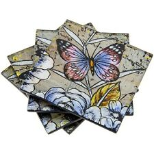 Set of 4 Glass Coasters or Drink Mats Violet Butterfly Metallic Purple