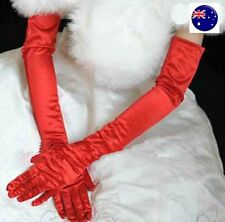 Women Opera Bride Hollywood Fancy Wedding Long Elbow Satin Bright Red Gloves