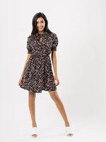 Womens Black Ditsy Print Peter Pan Collar Dress (8-14) BNWT (RRP 27.99)