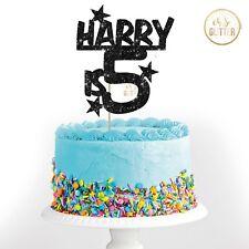 Custom name age glitter cake topper boy male birthday customised 1st personalise