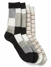 Gap Women Winter Socks Pack of 2 One Size Cozy Striped Checker Gray Cream New