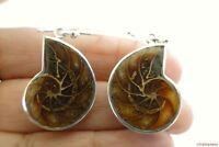 Fossil Ammonite 925 Sterling Silver Dangle Earrings