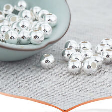 10pcs 925 Sterling Silver Round Seamless Spacer Beads 8mm, Bracelet Spacers
