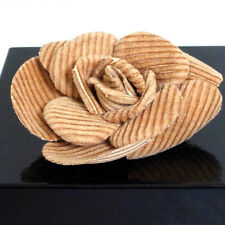 Authentic Chanel Camellia Brown Corsage Brooch Vintage Made France in Box