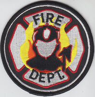 FIRE DEPARTMENT Dept round patch Maltese Cross with Firefighter in Flames