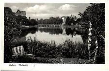 Uelzen Niedersachsen Ansichtskarte 1955 gelaufen Partie am Ratsteich Teilansicht