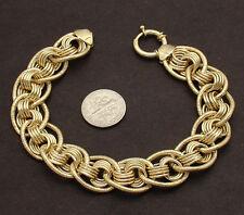 "8"" Technibond Corinthian Multi Rolo Link Bracelet 14K Yellow Gold Clad Silver"