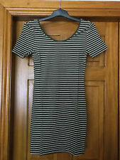 khaki striped half sleeve bodycon dress size 12 brand new mini dress