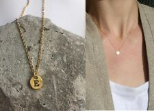 "Delicate Gold Round Disc "" E "" Letter Initial Pendant Necklace 18""L chain Urban"