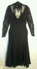 FLAPPER 1920'S DOWNTON ABBEY-Countess-Black Lace DRESS w/ Black Beaded Necklace